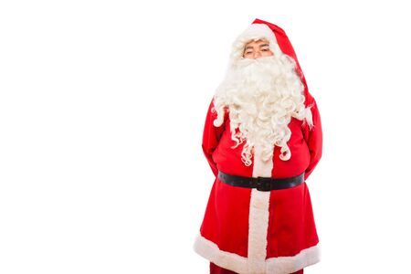 santa claus with hands on his back, copy space photo