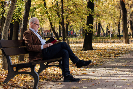 people relax: old elegant man with gray hair reading a book outside in park