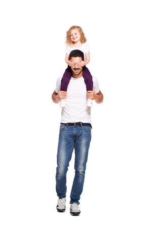 his: young handsome father with his little daughter isolated on white