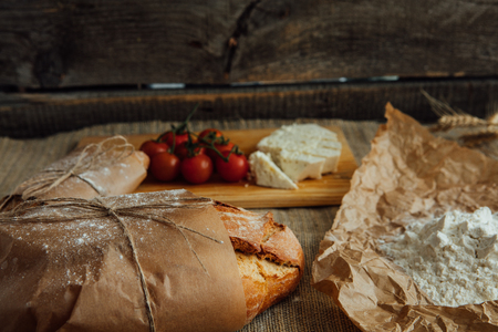 rustic food: rustic table with healthy food