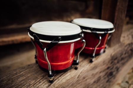 bongos: bongo drums on old wood plank