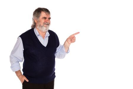 gray beard: old man with gray beard and blue shirt pointing direction, isolated on white background