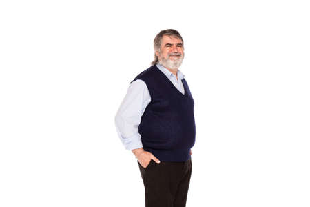gray beard: old man with gray beard and blue shirt isolated on white background