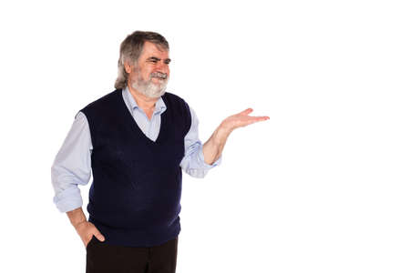 gray beard: old man with gray beard and blue shirt pointing at direction, isolated on white background