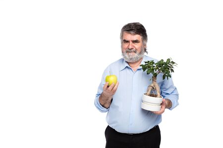 gray beard: old men with gray beard holding a small tree and green apple in in hands, isolated on white