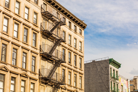 fire ladder at old houses downtown in New York
