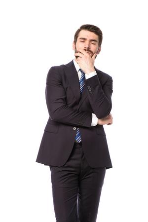 corporate man, elegant businessman standing on white background thinking about something