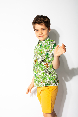 smiling kid waving his hand to camera on white background 写真素材