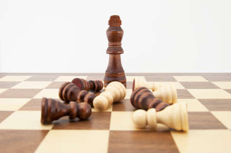 Chess king and pawns on chessboard with white background. Landscape format. photo
