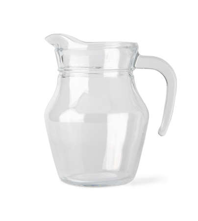Empty glass jug isolated on white background with clipping path. photo