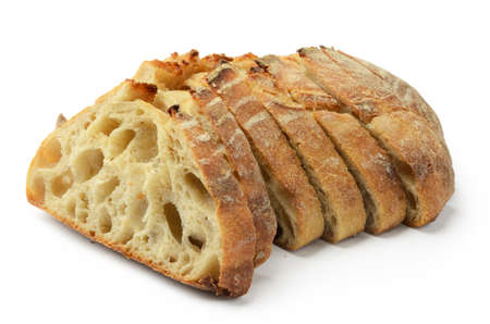 crusty: Slice of white crusty bread isolated on white background