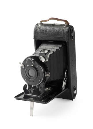 bellows: Vintage bellows photo camera isolated on white background Stock Photo
