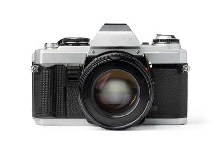 Old photo camera isolated on white background 스톡 콘텐츠
