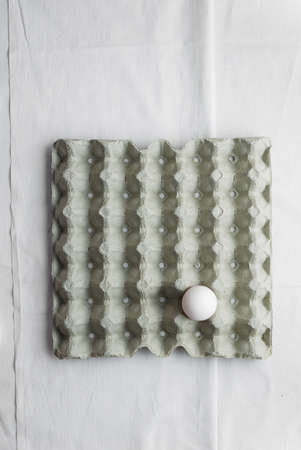 signle: Signle egg in formwork over white cloth, above view