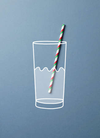colorful straw: Glass of water with a colorful straw doodle concept. This image is a photograph with drawing over it