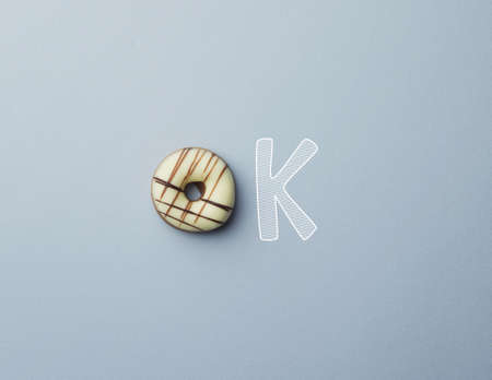 doodle text: Donut with a doodle text ok concept Stock Photo