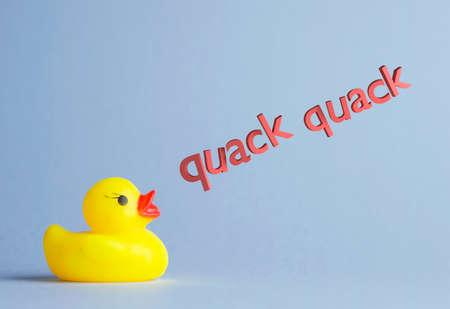 quack: Yellow rubber duck says:  quack quack  over blue background