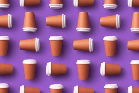 Multiple disposable coffee cups organized over purple background Foto de archivo - 118563976