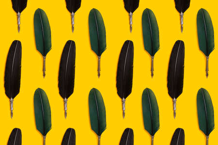 Green and black quill pens organized in a row over yellow background