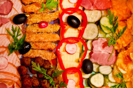 Food appetizers waiting to be served in restaurant. photo