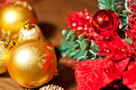 Christmas Elements with tree branch and balls photo