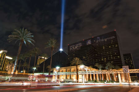 LAS VEGAS, NEVADA - OCTOBER  03: The Luxor Hotel Casino, one of the most recognizable landmarks of Vegas at night during a live performance of Chris Angel, 03 October, 2011, in Las Vegas, NV