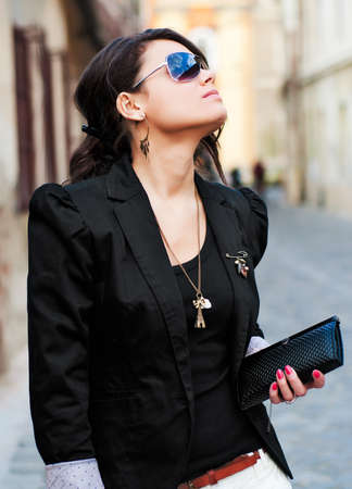 wallet: Fashion girl presenting designer clothes, sunglasses and accessories