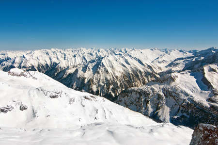 Scenic wallpaper with peaks of the austrian alps photo