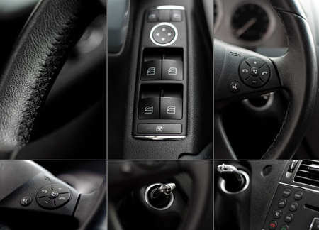 Car interior wheel, controls and radio details collage  photo