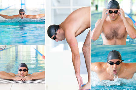 Collage of pictures with male model swimmer in indoor swimming pool photo
