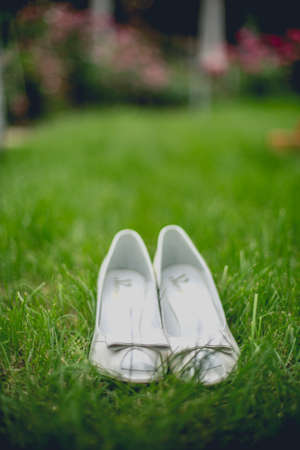 Elegant and stylish, modern wedding shoes against grass in garden photo