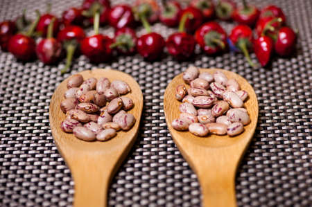 wooden spoons with bean seeds and red pepper, aromatic ingredients photo
