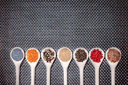 pepper flakes: mix of hot and colorful spices with poppy seeds, pepper and mustard seeds