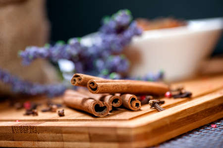 tea ingredient mix with cinnamon sticks and lavander  photo