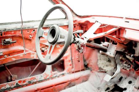 restauration: old car in auto workshop getting restored, vintage car restauration Stock Photo