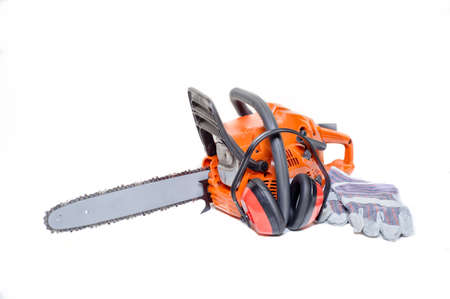 gasoline powered: Gasoline powered chainsaw with protective gear and accesories isolated on white background Stock Photo