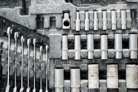 Vintage set of adjustable metallic keys for automotive industry, mechanic in factory Stock Photo - 23351892