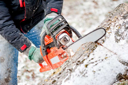 moving down: Woodcutter or lumberjack cutting fire wood in garden during winter against snow background Stock Photo