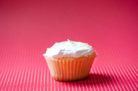 Vanilla cupcake with cream topping and crunchy cookies on top isolated on pink background photo
