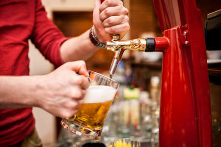 beer in bar: Barman brewing a draft, unfiltered beer at pub or bar