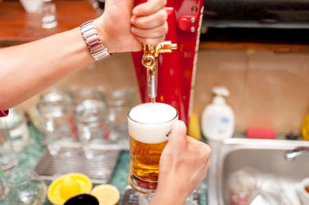 bartender brewing draft beer in pub photo
