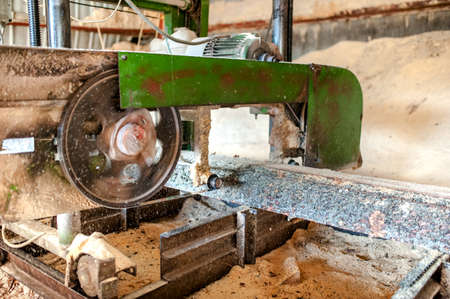 industrial wood production factory - close-up of band saw sawmill cutting wood photo