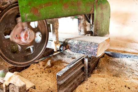 lumber industry:  industrial wood production factory - close-up of industrial sawmill cutting a log