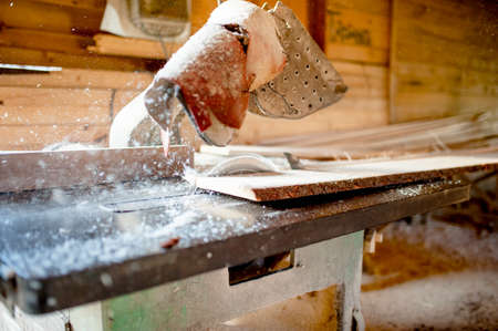 wood sawing and cutting at local industrial wood processing factory