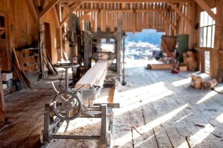 木材生産工場 - 産業機器および製材の一般的なビュー 写真素材