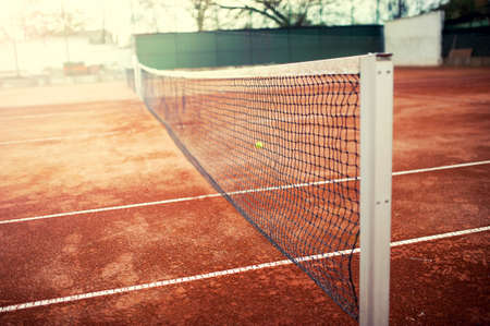tennis clay: Tennis court on a sunny summer day