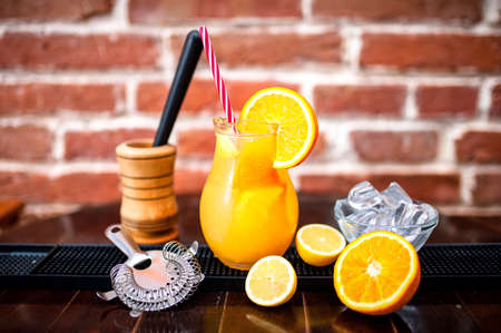 nonalcoholic: orange lemonade as fresh summer drink, nonalcoholic refreshment