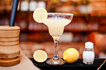 margarita drink: margarita cocktail drink closeup served cold in bar and casino Stock Photo