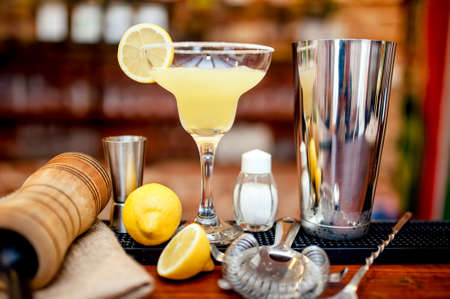 cocktail strainer: fresh lime margarita served in bar and casino