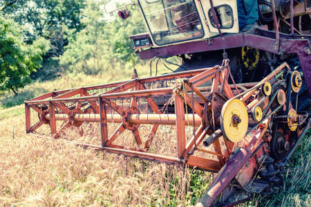 winnowing: Close-up of harvesting combine in grain and wheat crops  Agricultural activities at rural countryside Stock Photo